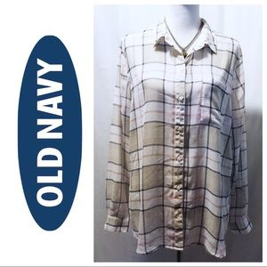 Old Navy ~ Semi Sheer Button Down - Size XL